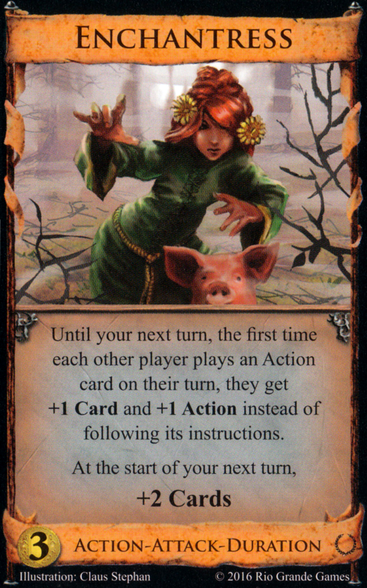 Enchantress ($3): Action-Attack-Duration: Until your next turn, the first time each other player plays an Action card on their turn, they get +1 Card and +1 Action instead of following its instructions. At the start of your next turn, +2 Cards